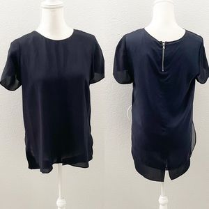 Rebecca Taylor navy blue sheer overlay blouse 6